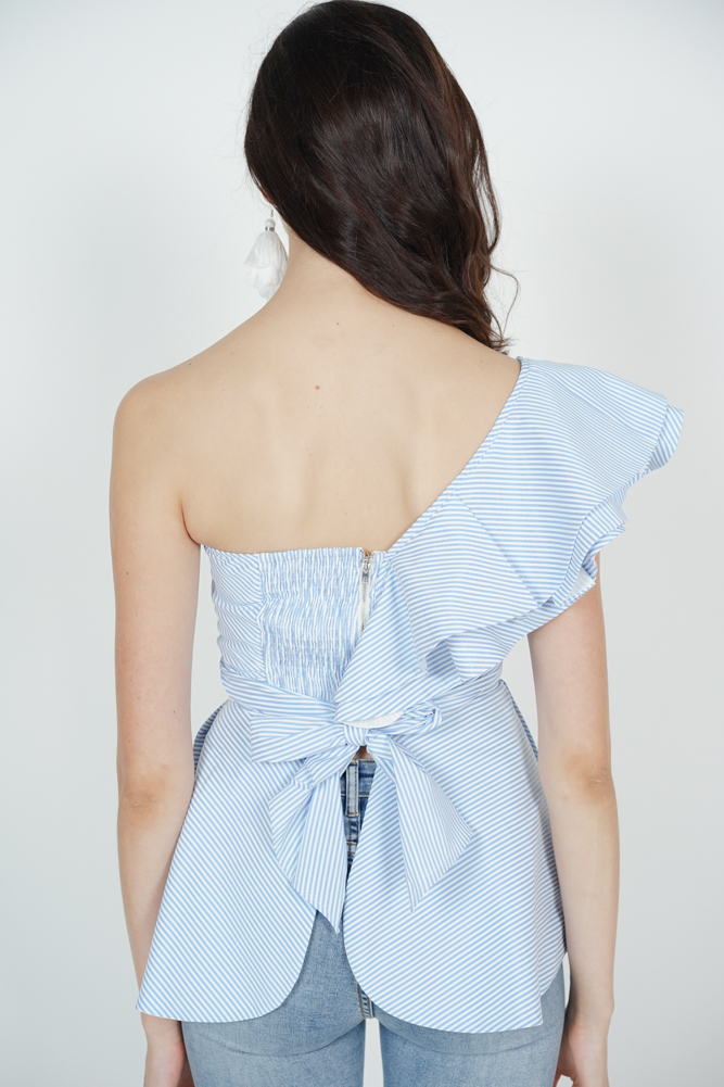 Peplum Toga Top in Light Blue Pinstripes - Arriving Soon