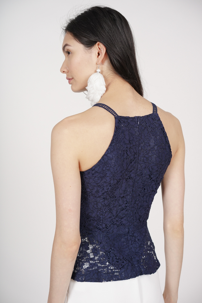 Halter Lace Top in Navy