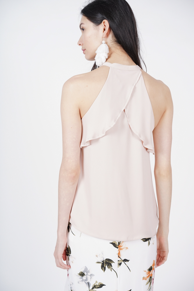 Frill Keyhole Top in Nude