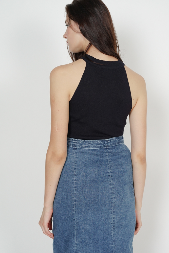 Frill Halter Top in Midnight