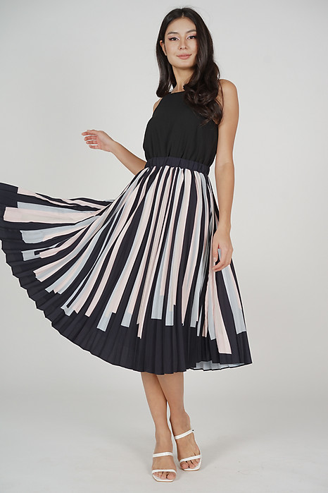 Nelida Pleated Dress in Black