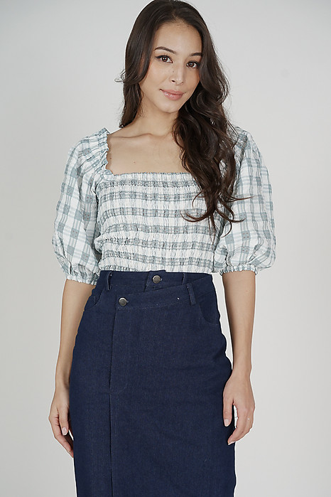 Umi Smocked Top in Grey Gingham