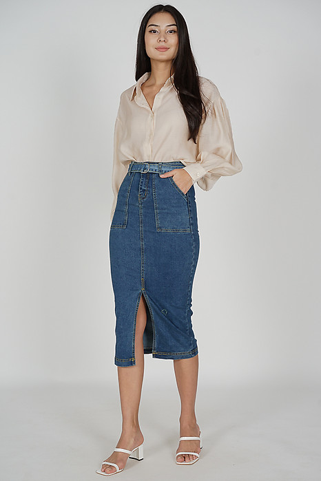 Avien Denim Slit Skirt in Dark Blue - Online Exclusive