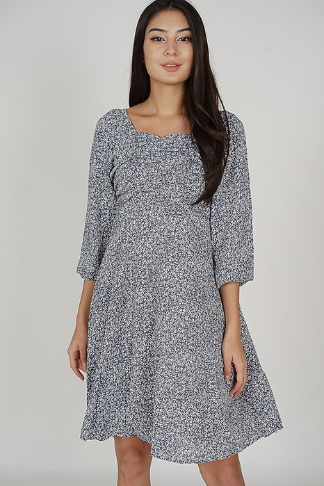 Laina Ruched Dress in Dusty Blue - Online Exclusive