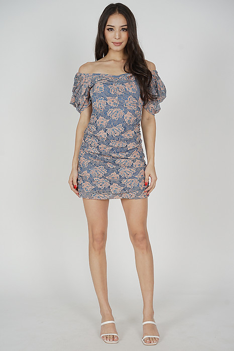 Fawna Lace Dress in Blue Pink