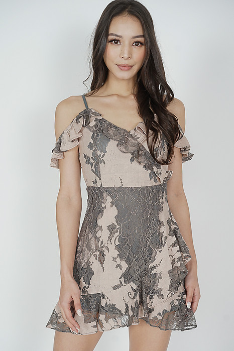 Danika Ruffled Dress in Nude Grey