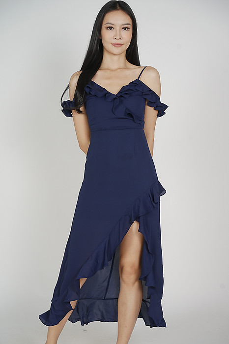 Asymmetrical Frilly Dress in Midnight - Arriving Soon