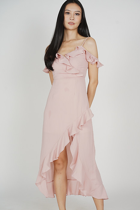 Asymmetrical Frilly Dress in Light Pink - Arriving Soon