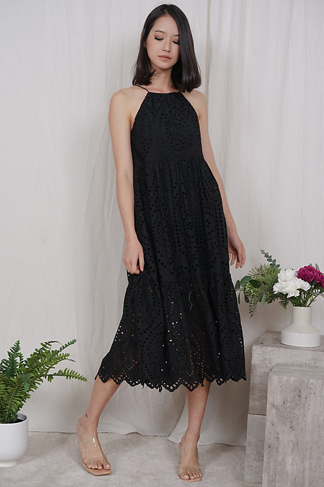 Zalika Eyelet Dress in Black - Arriving Soon