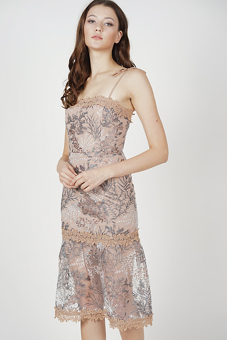 0ceb3a42c00a2 Nerida Lace Dress in Taupe - Arriving Soon