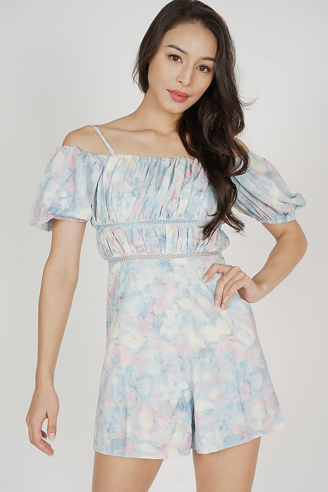 Wiana Ruched Romper in Pastel Abstract