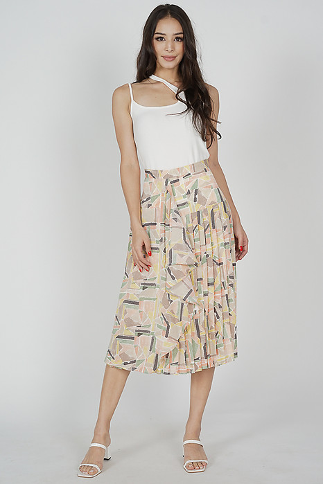 Olwen Ruffled Pleated Skirt in Multi Abstract