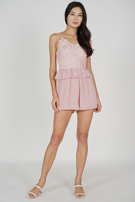 Balven Lace Romper in Pink