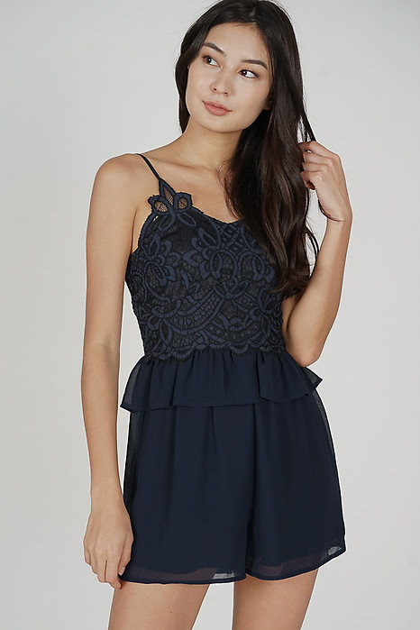 Balven Lace Romper in Midnight