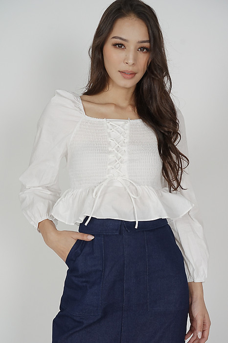 Gregory Lace-Up Top in White - Online Exclusive