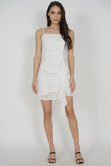 Antonia Ruffled Dress in White