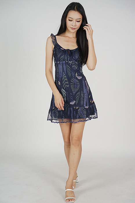 Troyie Embroidered Dress in Navy