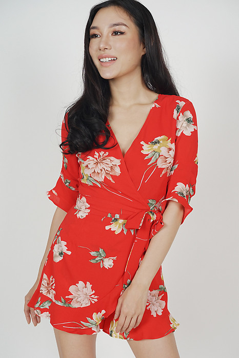 08eedc9132d Nolana Ruffle Romper in Red Floral