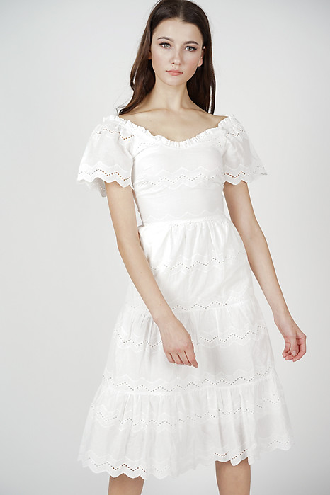 36fc12f5a07 Euthalia Tiered Dress in White