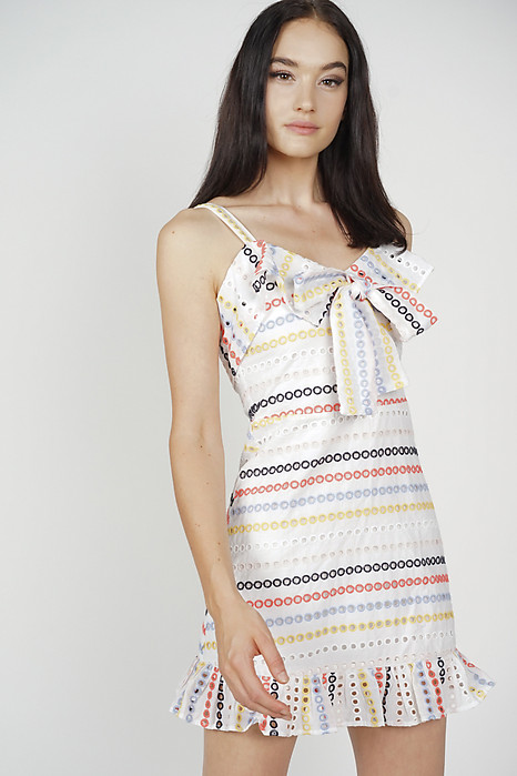 a535613a65e6a2 Mura Front Tie Dress in Rainbow - Arriving Soon