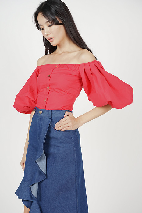 9618a8a920e2 Puffy Sleeves Top in Red
