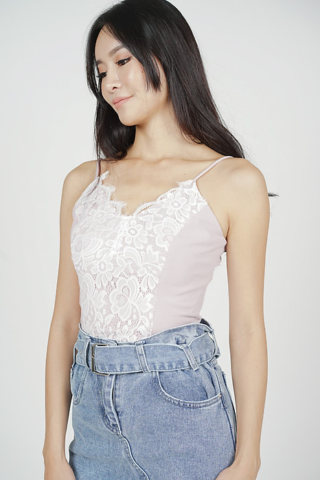 201a85283 Jonelle Lace-Trimmed Top in Pink