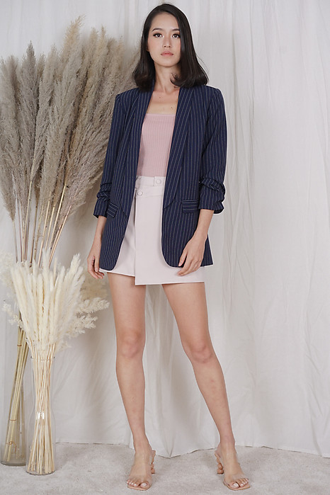 Maizel Gathered Sleeve Blazer in Navy Stripes - Arriving Soon