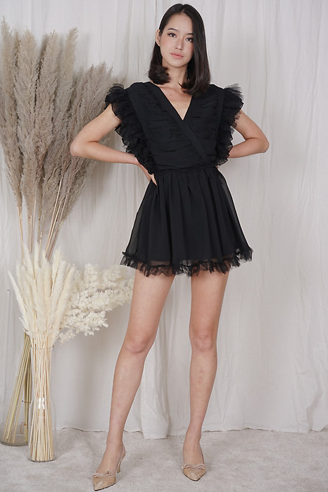 Blevi Ruffled Skorts Romper in Black - Shipping out from 20 to 23 April onwards