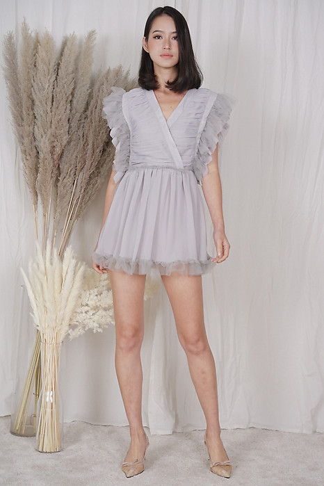 Blevi Ruffled Skorts Romper in Grey - Shipping out from 20 to 23 April onwards