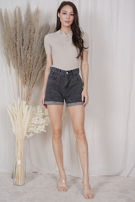Evalyn Denim Shorts in Dark Grey - Online Exclusive