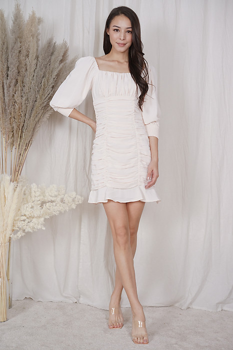 Bennia Ruched Dress in Eggshell - Arriving Soon