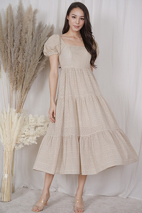 Gabi Puffy Dress in Nude - Arriving Soon