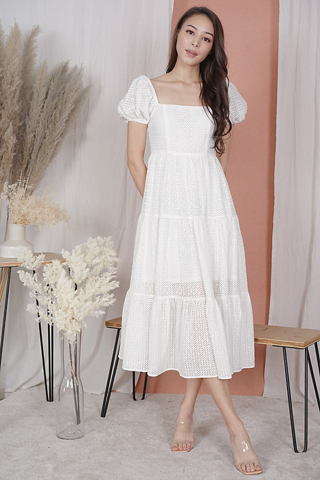 Gabi Puffy Dress in White - Arriving Soon