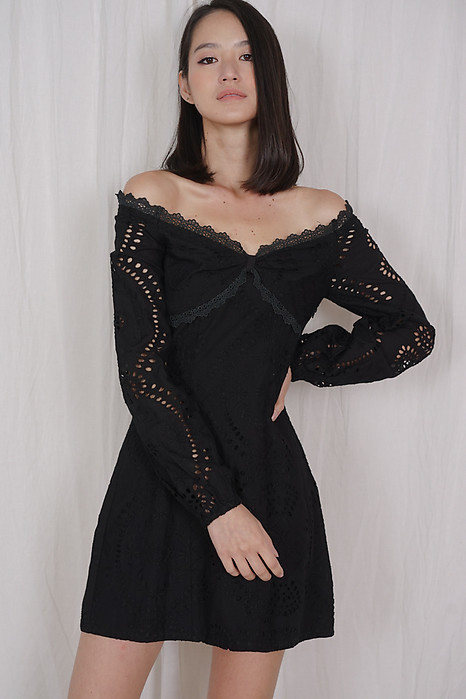 Nickole Eyelet Dress in Black - Arriving Soon
