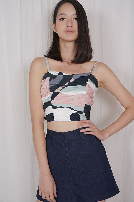 Bora Ruched Cami Top in Abstract - Arriving Soon
