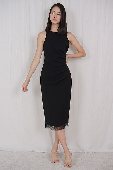 Jacklyn Side Drape Dress in Black - Arriving Soon
