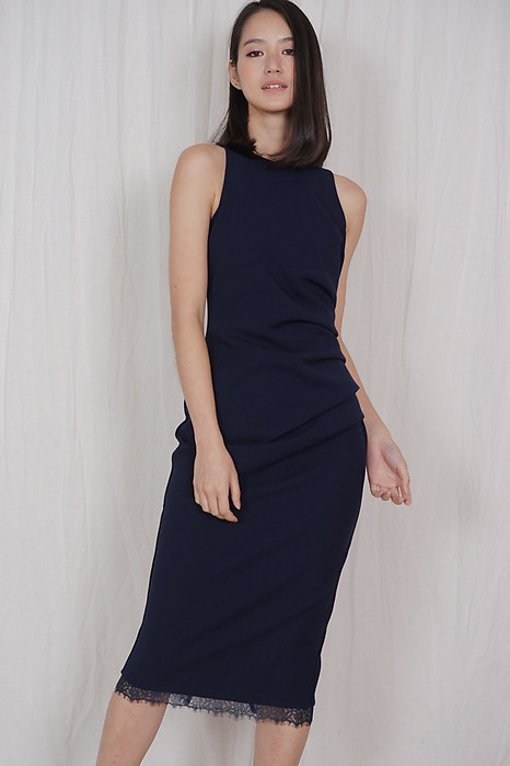 Jacklyn Side Drape Dress in Midnight - Arriving Soon