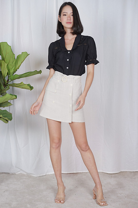 Petra Belted Skorts in White - Online Exclusive