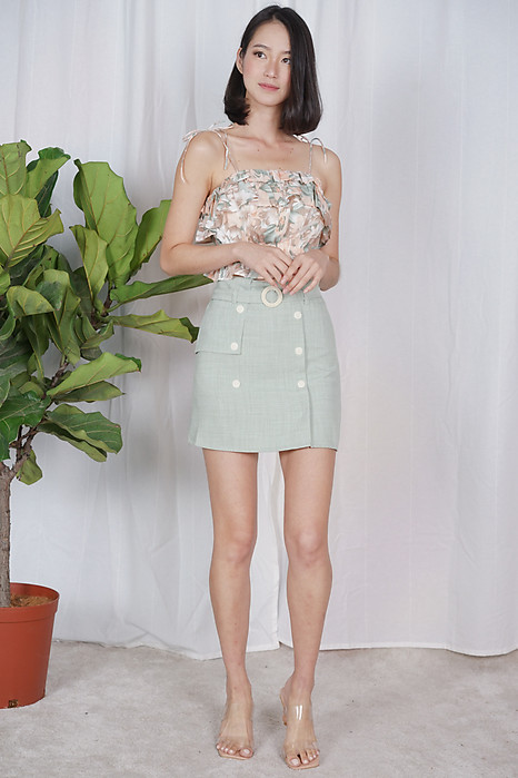 Petra Belted Skorts in Sage - Online Exclusive