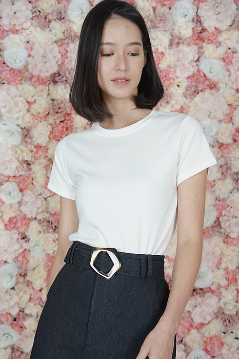 Emida Slim Fit Top in White - Online Exclusive