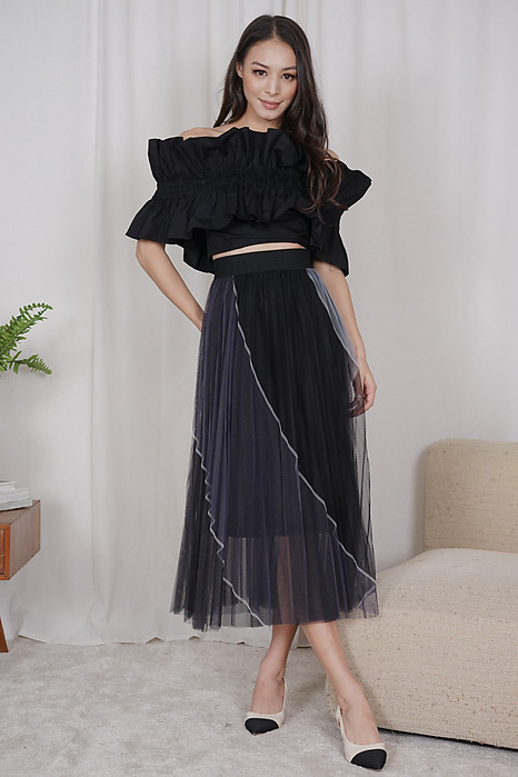 Maei Ruffled Top in Black - Arriving Soon