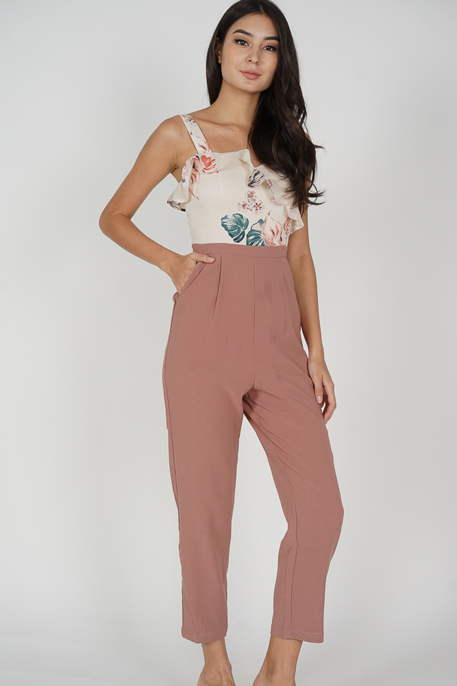 Nadya Ruffled Jumpsuit in White Pink Floral