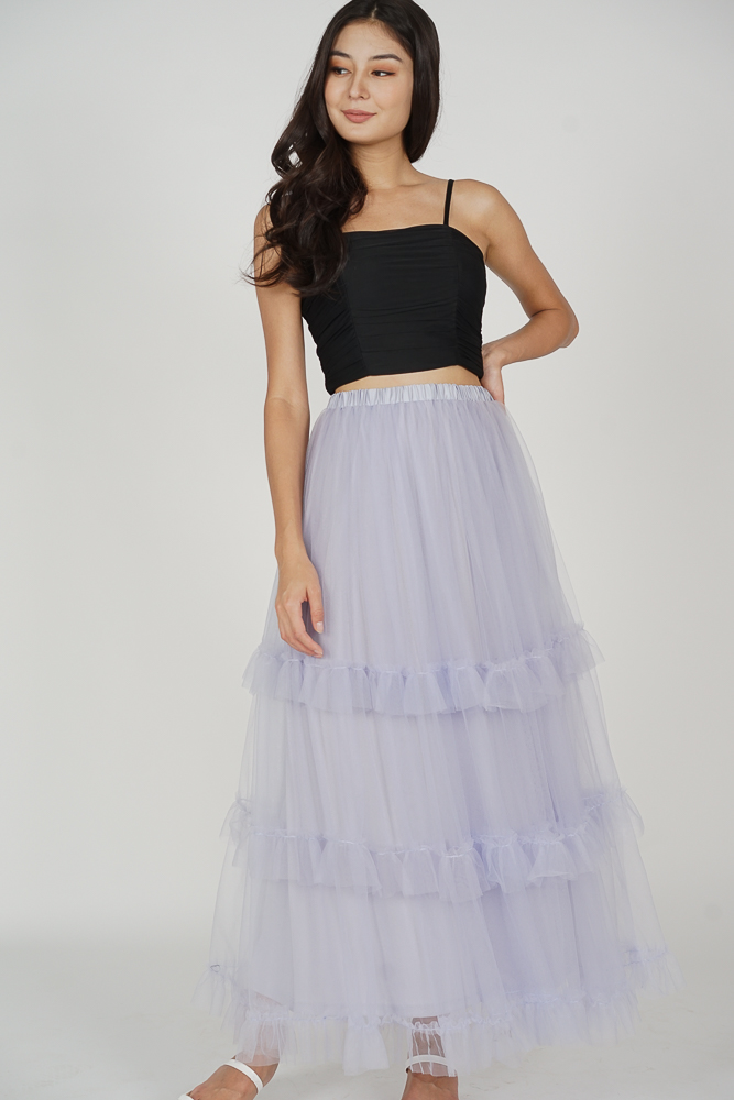 Pablo Gathered Tulle Skirt in Lilac