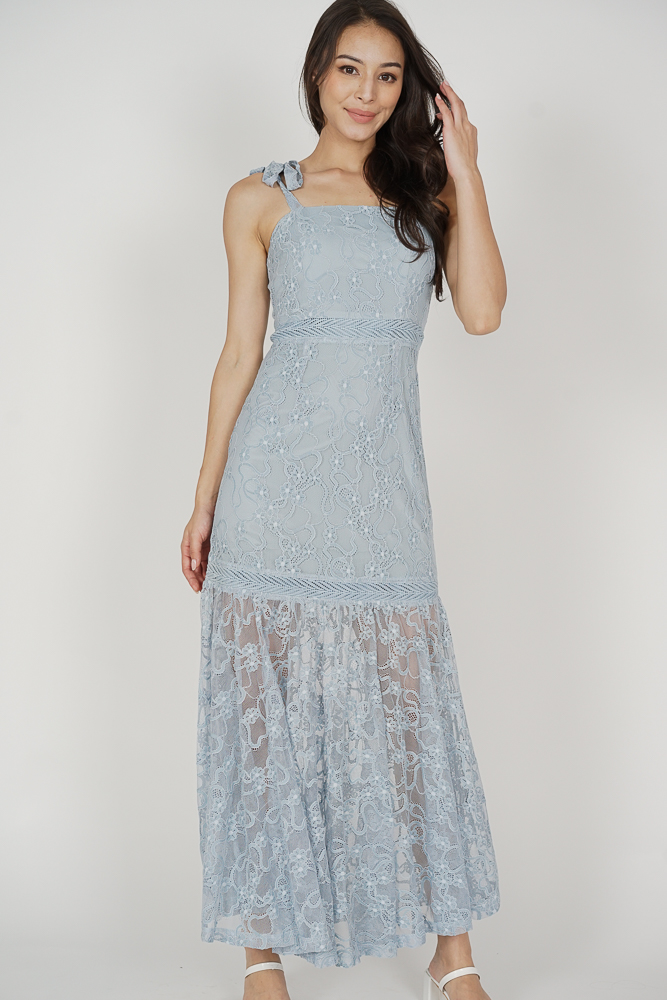 Hanie Maxi Dress in Ash Blue