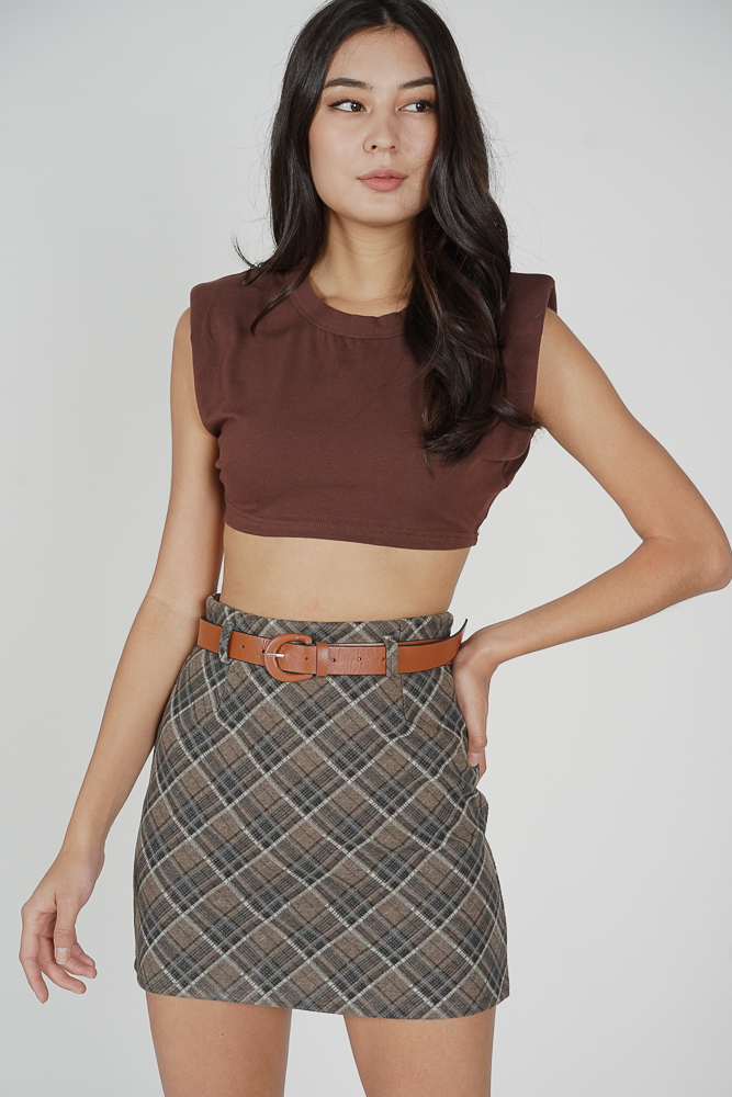Rydel Checkered Skirt in Grey - Online Exclusive