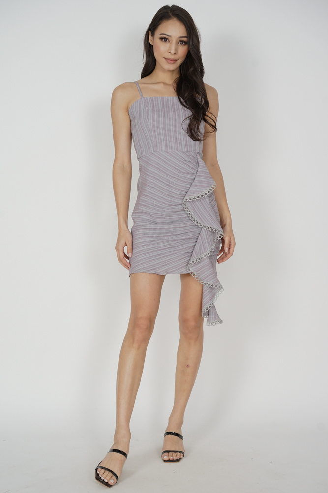 Antonia Ruffled Dress in Mauve Grey