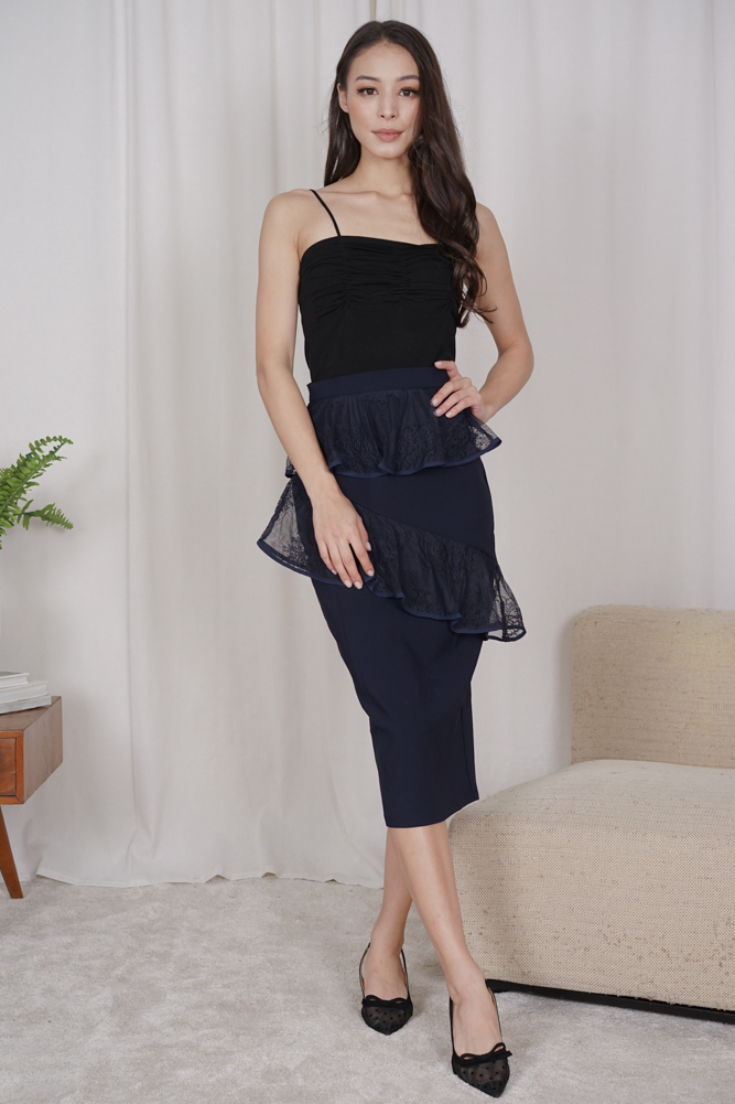 Malu Gathered Top in Black - Online Exclusive