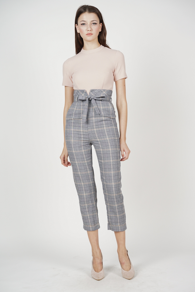 a99c1c55112 Contrast Tie Jumpsuit in Pink Checks