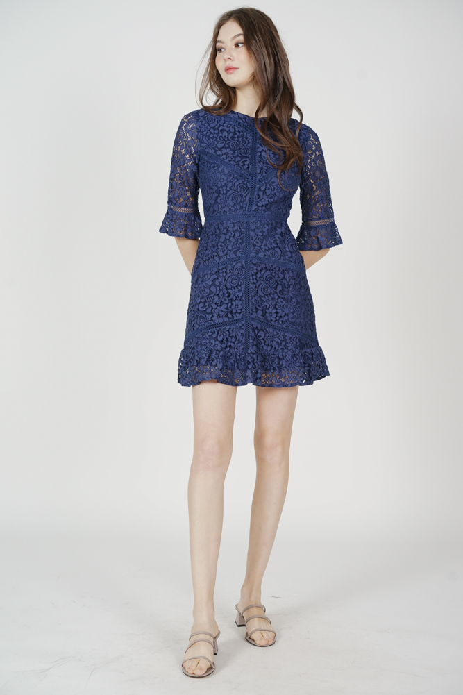 Dallon Lace Dress in Navy