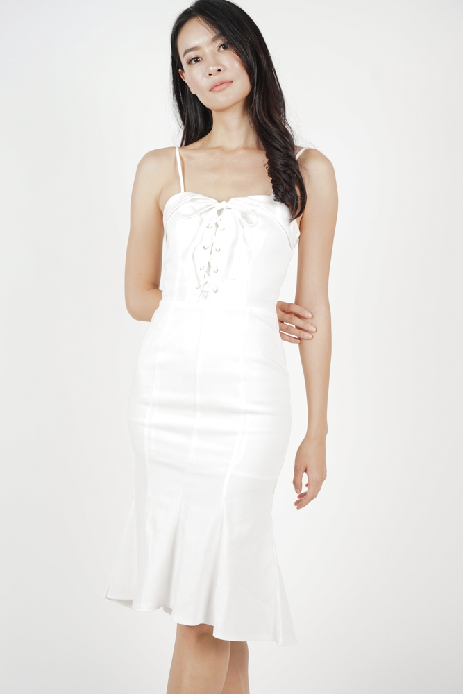 0304fd56db MDS. Lace-Up Ruffled Dress in White